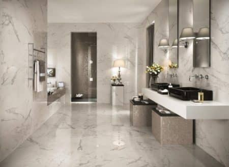 Carrelage salle de bain les tendances les plus en vogue for Carrelage salle de bain weldom