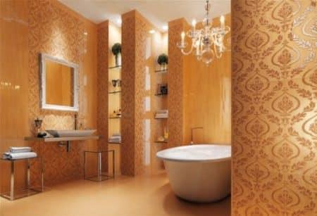 Carrelage salle de bain ciment, aux motifs exotiques